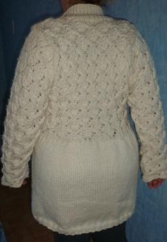 veste écrue grande taille point irlandais tricotée main