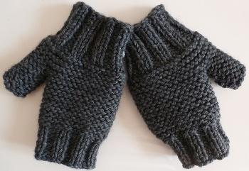 mitaines mixtes tricotées main pour femmes et homme, grises
