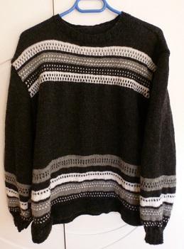 Création Pull femme gris 3 couleurs, grande taille tricoté main