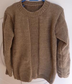 Création pull homme beige point de riz tricoté main