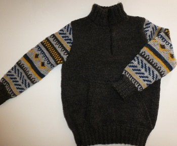Pull enfant garçon en jacquard tricoté main