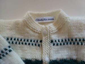 veste bébé point bicolore fantaisie tricotée main